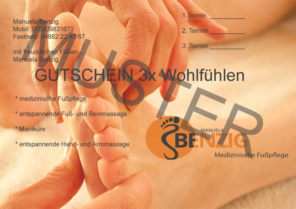 Gutscheine mobile medizinische Fußpflege Manuela Benzig Lehe